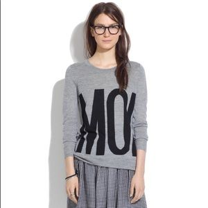 "Madewell ""MOI"" Graphic Sweater In Grey/Black SZ L"